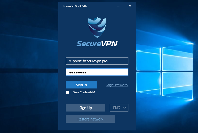 Setting up SecureVPN app for Windows, step 5