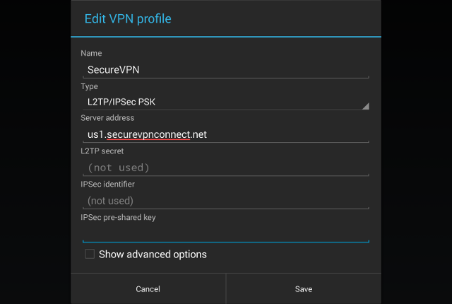 Setting up L2TP VPN on Android, step 5