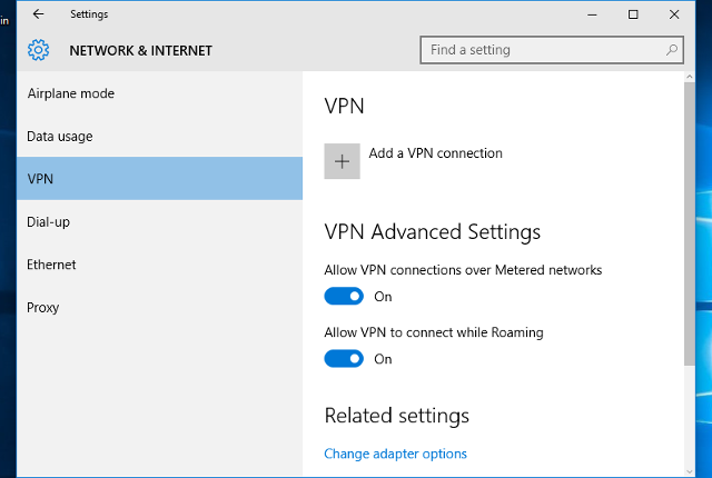 Setting up L2TP VPN on Windows 10, step 2