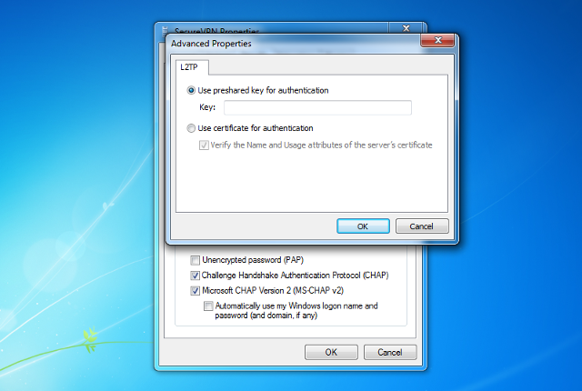 Setting up L2TP VPN on Windows 7, step 10
