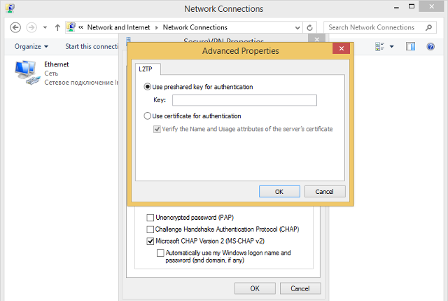 Setting up L2TP VPN on Windows 8, step 10