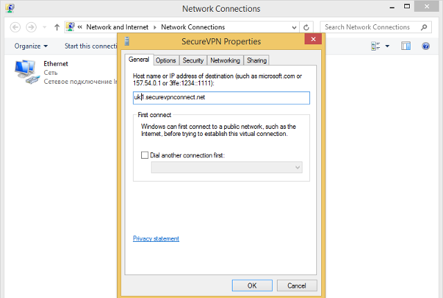 Setting up L2TP VPN on Windows 8, step 15