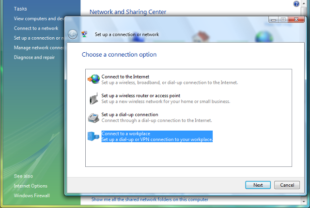 Setting up L2TP VPN on Windows Vista, step 3