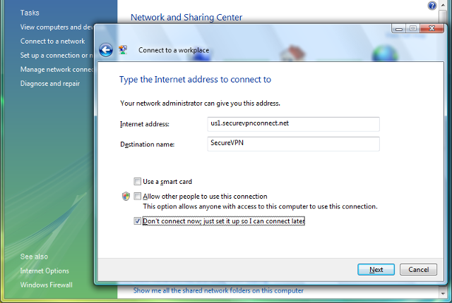 Setting up L2TP VPN on Windows Vista, step 5