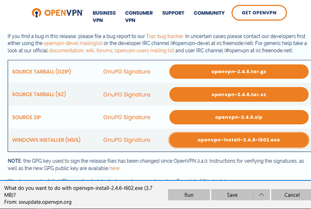 Setting up OpenVPN on Windows 10, step 1
