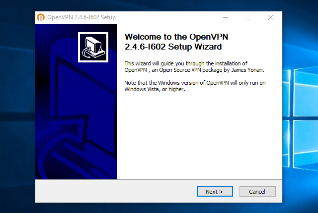 Setting up OpenVPN on Windows 10, step 3