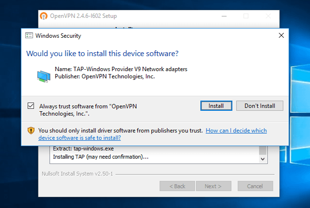 Setting up OpenVPN on Windows 10, step 7