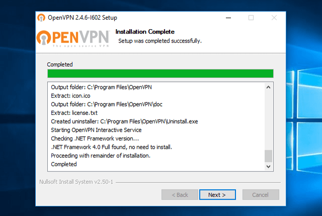 Setting up OpenVPN on Windows 10, step 8