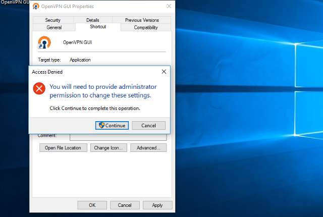 Setting up OpenVPN on Windows 10, step 12