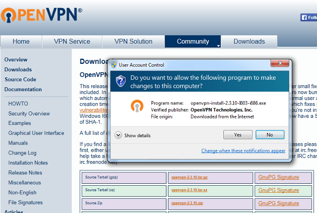 Setting up OpenVPN on Windows 7, step 2