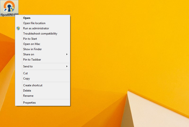 Setting up OpenVPN on Windows 8, step 9