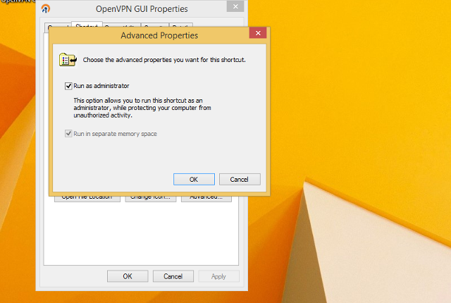 Setting up OpenVPN on Windows 8, step 11