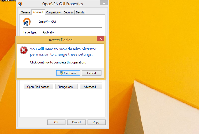 Setting up OpenVPN on Windows 8, step 12