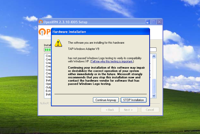 Setting up OpenVPN on Windows XP, step 7