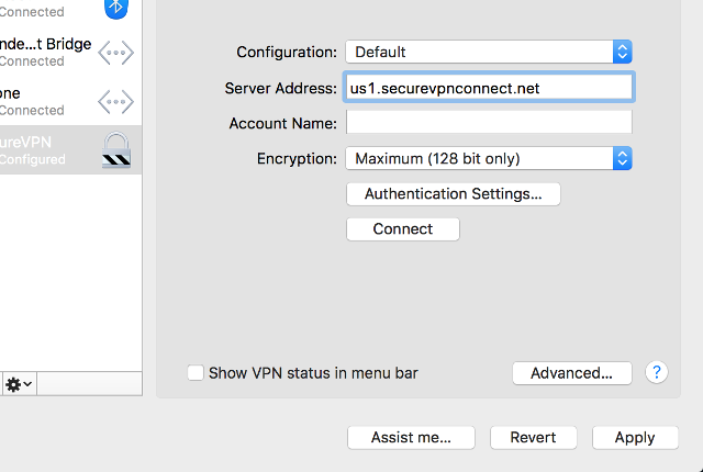 Setting up PPTP VPN on Mac OS X, step 4