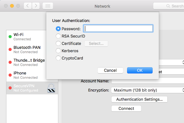 Setting up PPTP VPN on Mac OS X, step 5