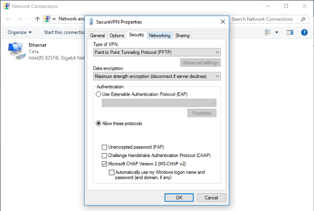 Setting up PPTP VPN on Windows 10, step 9