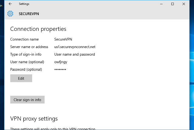 Setting up PPTP VPN on Windows 10, step 12