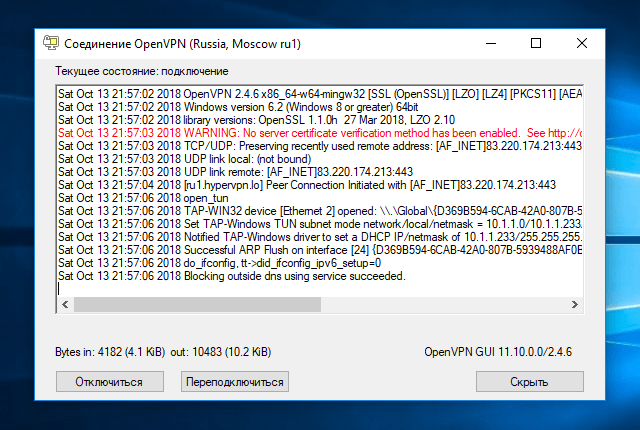 Настройка OpenVPN на Windows 10, шаг 17