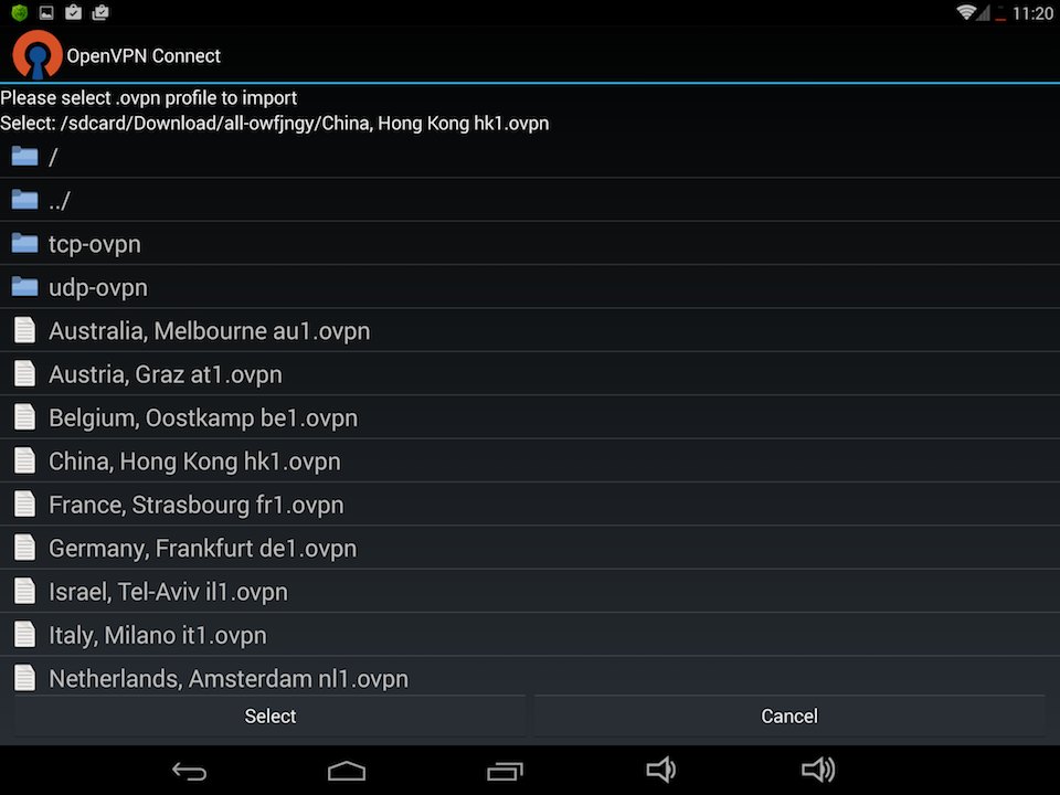 Setting up OpenVPN on Android, step 6