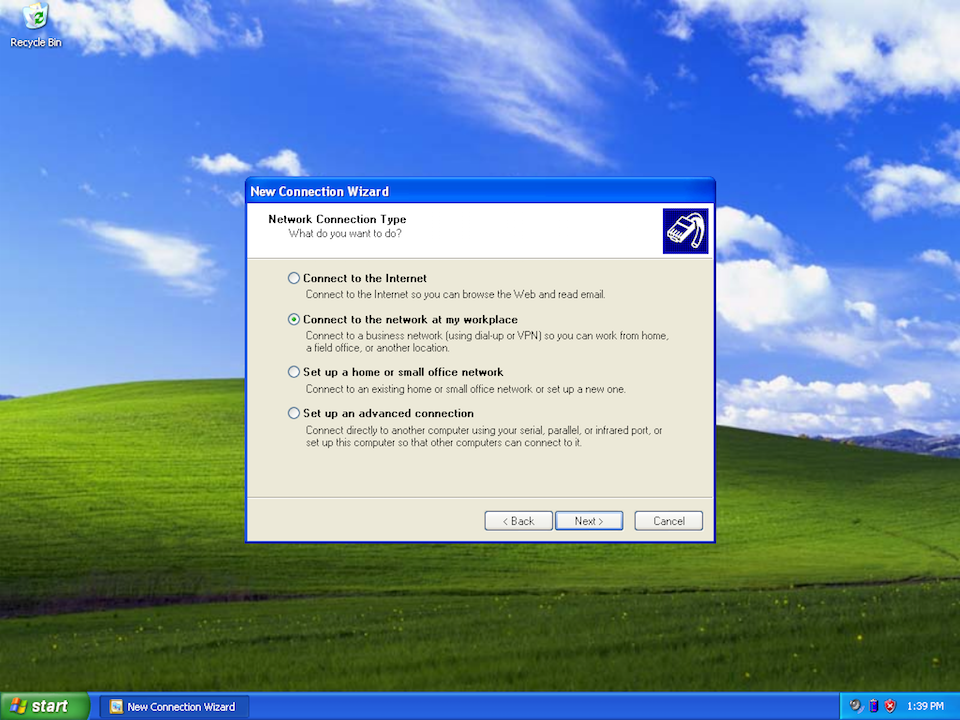 Setting up PPTP VPN on Windows XP, step 4