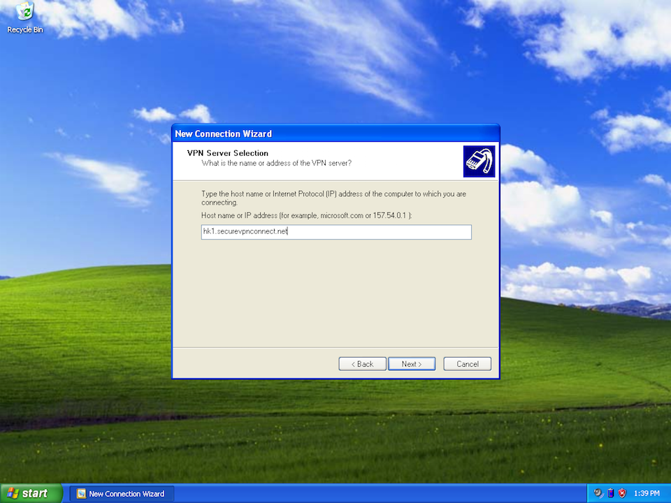 Setting up PPTP VPN on Windows XP, step 7