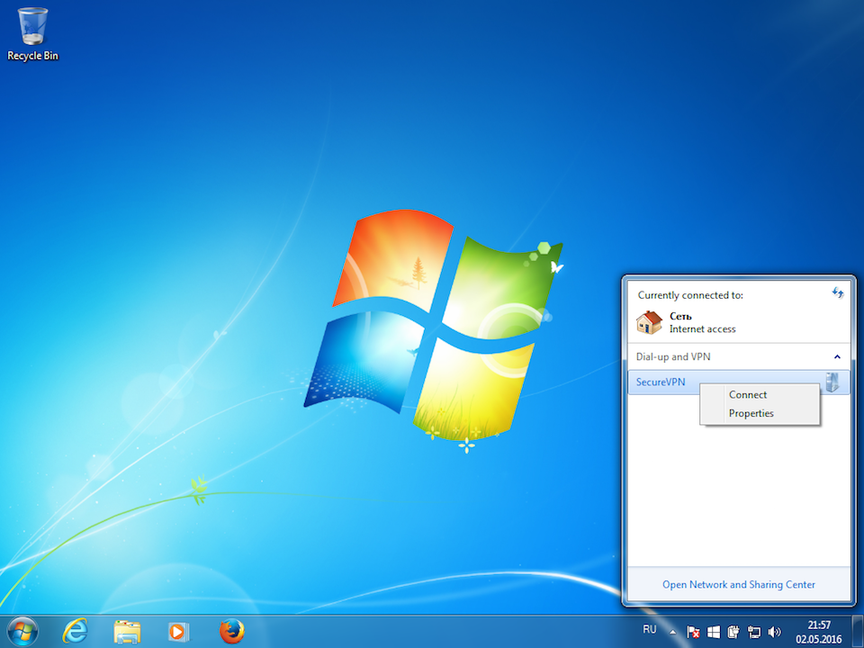 Setting up L2TP VPN on Windows 7, step 8