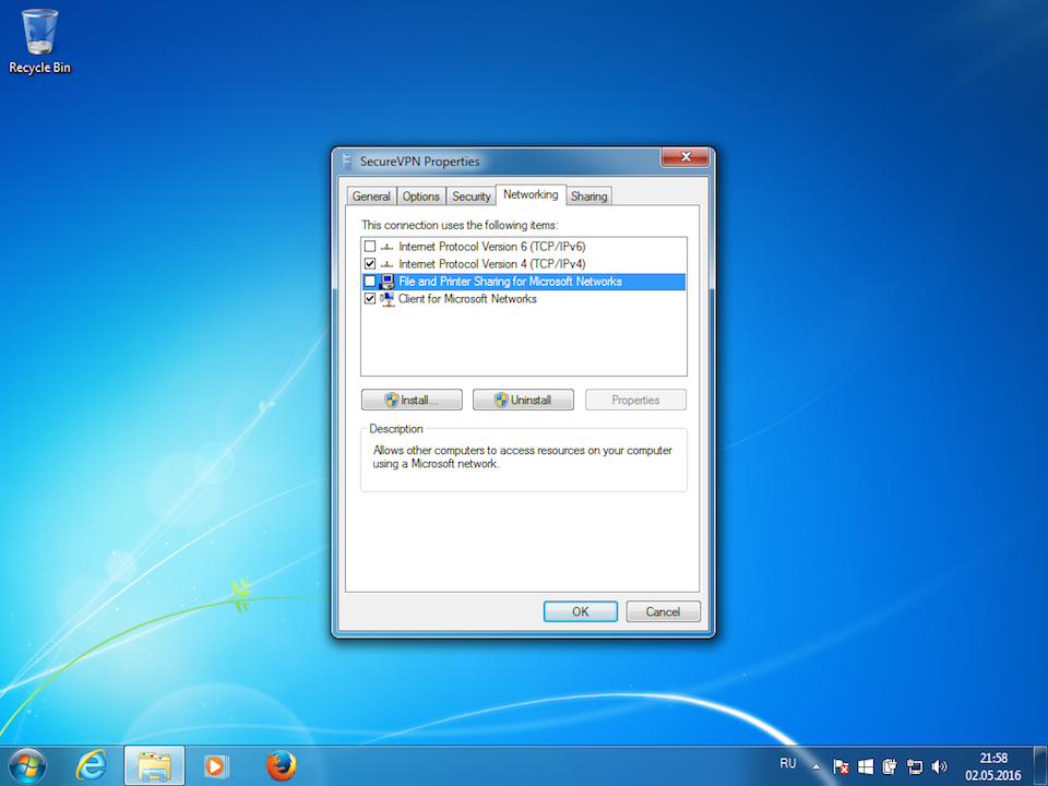 Setting up L2TP VPN on Windows 7, step 11