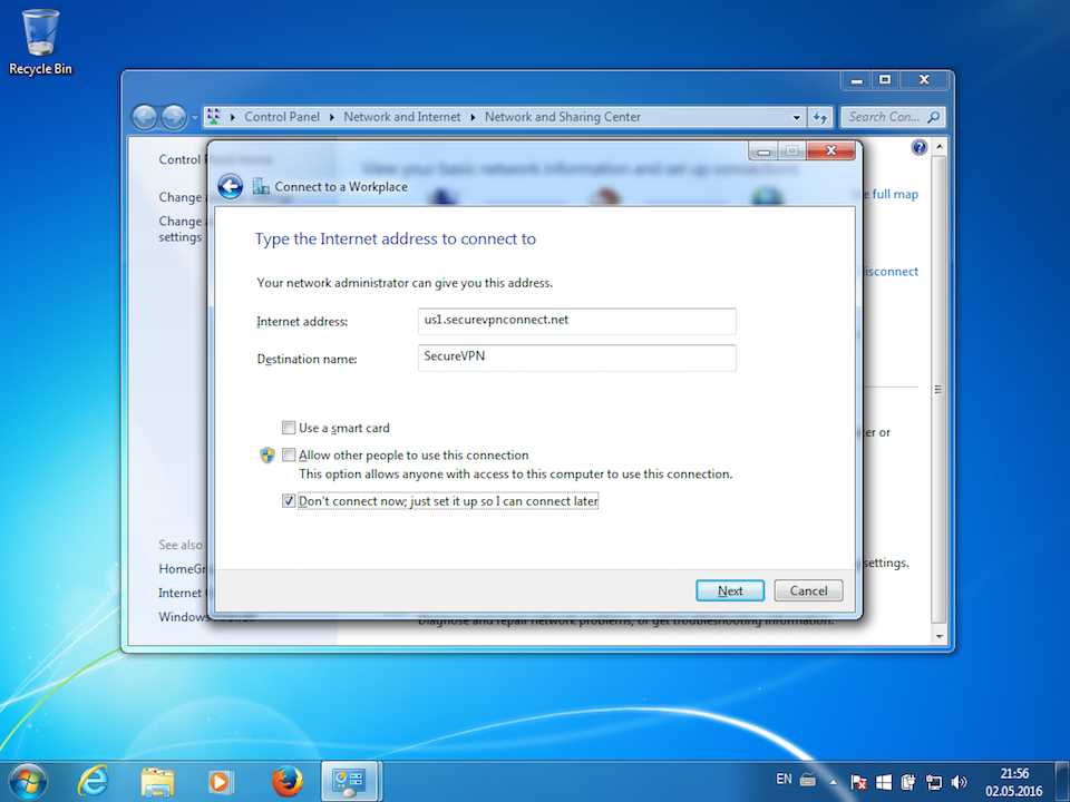 Setting up PPTP VPN on Windows 7, step 5