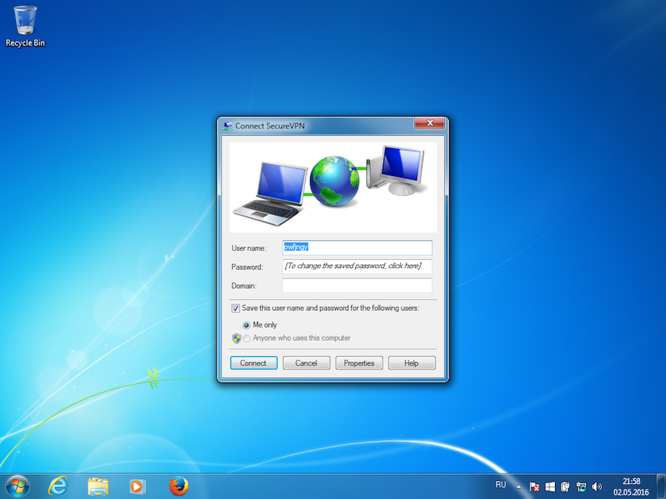 Setting up PPTP VPN on Windows 7, step 12