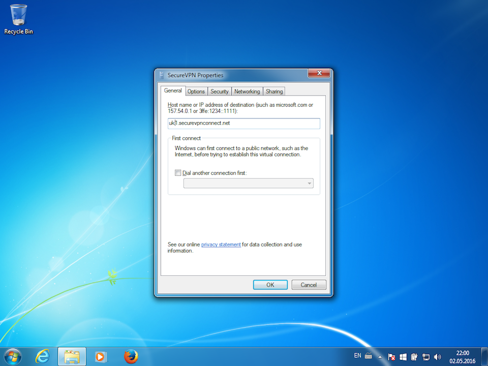 Setting up PPTP VPN on Windows 7, step 15