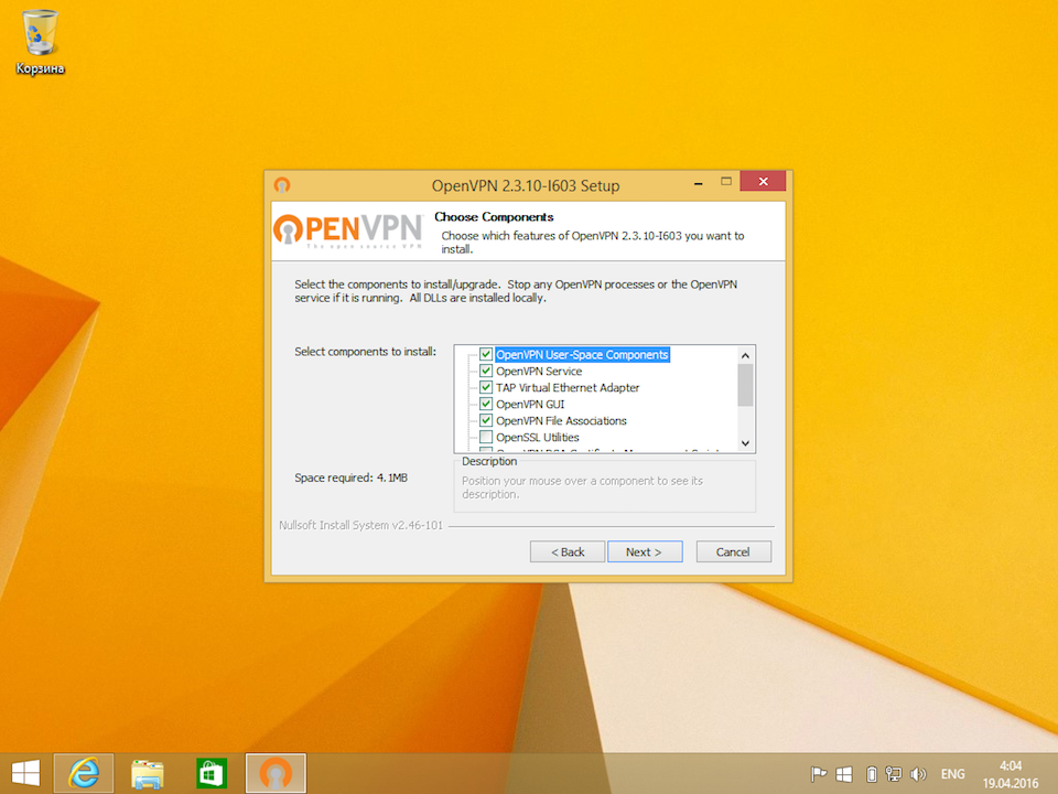 Настройка OpenVPN на Windows 8, шаг 5