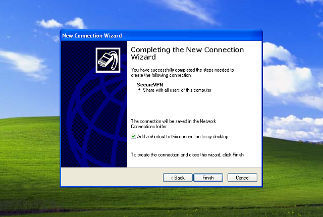 Setting up L2TP VPN on Windows XP, step 8