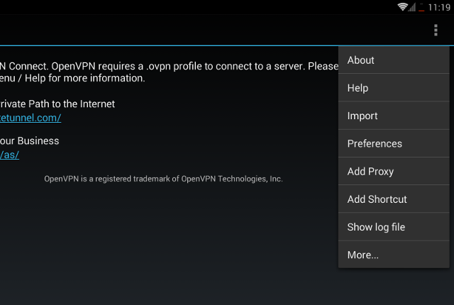 Setting up OpenVPN on Android, step 4