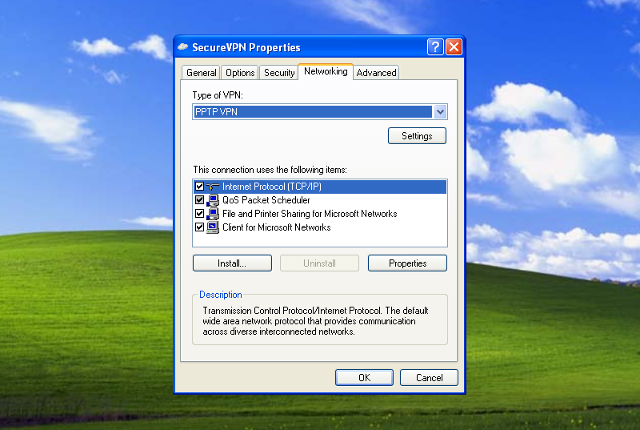 Setting up PPTP VPN on Windows XP, step 10