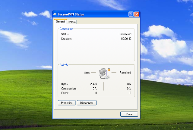 Setting up PPTP VPN on Windows XP, step 13