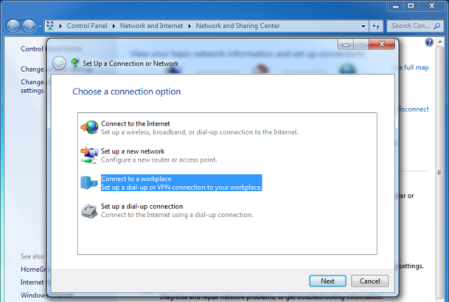 Setting up L2TP VPN on Windows 7, step 3