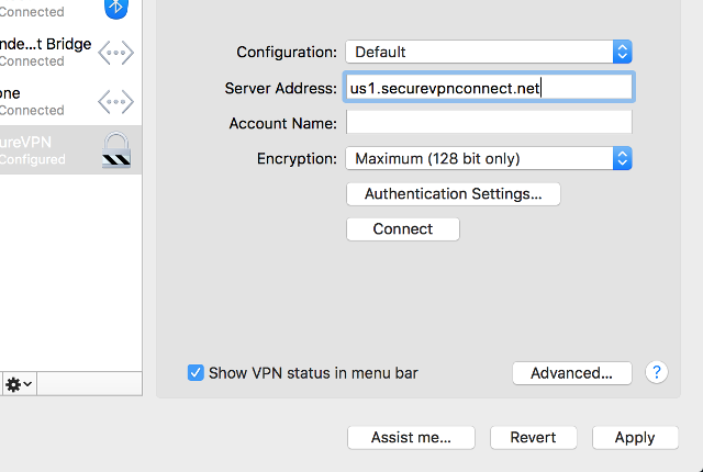 Setting up PPTP VPN on Mac OS X, step 6