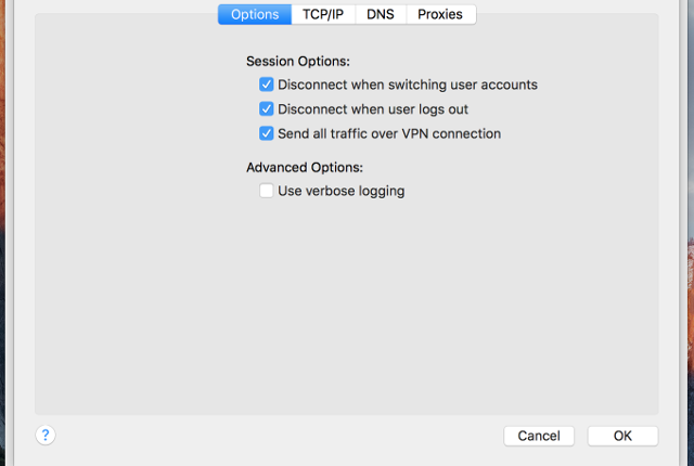 Setting up PPTP VPN on Mac OS X, step 7